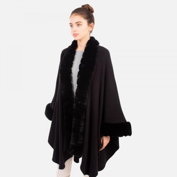 Women's Knit Poncho Featuring a Faux Fur Collar and a Button Closure.  - One Size Fits Most (Sizes 0-14) - 100% Polyester