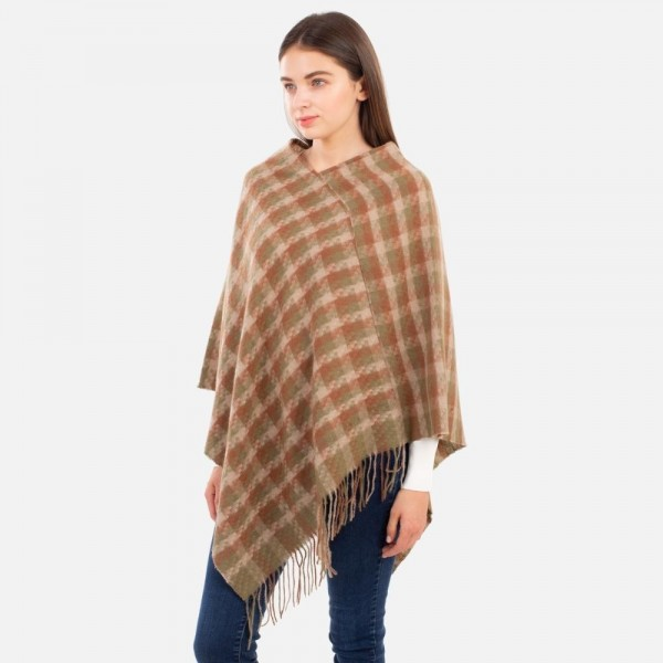 Women's Plaid Knit Poncho Featuring Fringe Accents.  - One Size Fits Most (Sizes 0-14) - 100% Polyester