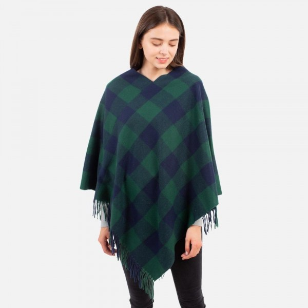 Women's Buffalo Check Poncho Featuring Fringe Accents.
