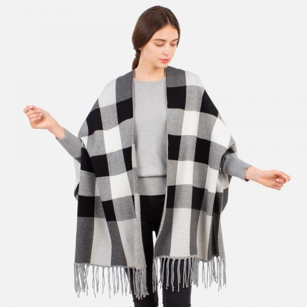 Plaid Sleeved Ruana with Fringe Tassels  -One size fits most 0-14 -100% Acrylic
