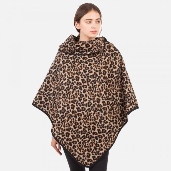 Animal Print Poncho   -One size fits most 0-14 -100% Polyester