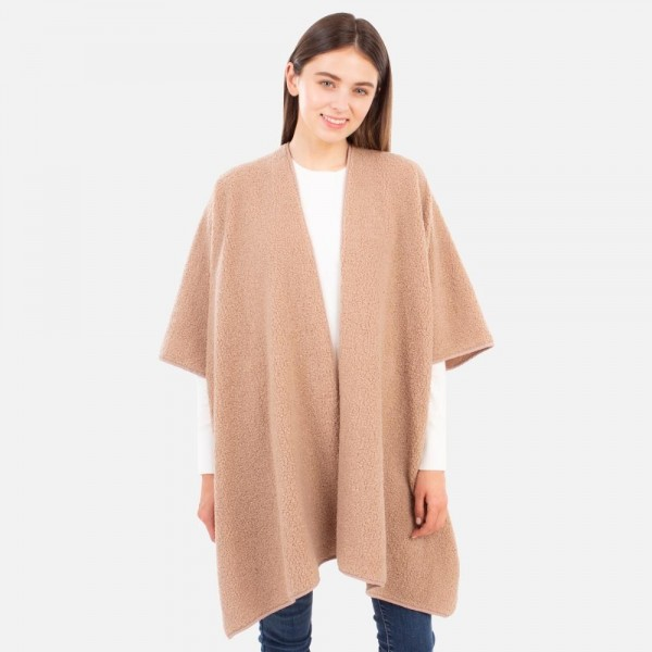 Solid colored sherpa kimono  -One size fits most 0-14 -100% Polyester