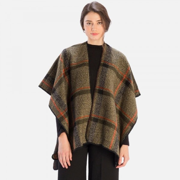 Plaid Ruana  -One size fits most 0-14 -70% Polyester, 30% Wool