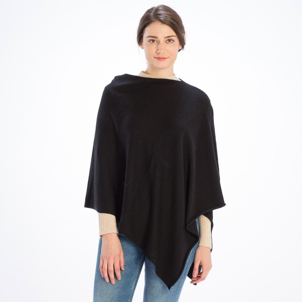 Women's Solid Color Knit Poncho.  - One Size Fits Most (Sizes 0-14) - 75% Acrylic, 15% Cashmere, 10% Nylon