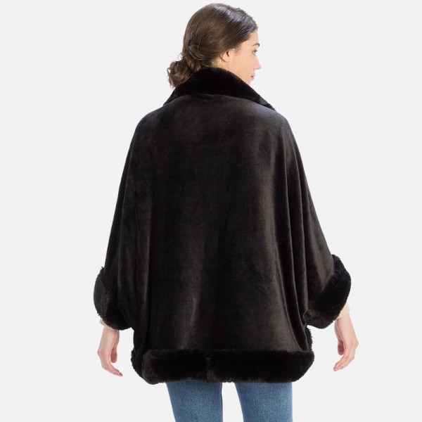Solid Color Faux Fur Kimono   -One size fits most  -100% Polyester