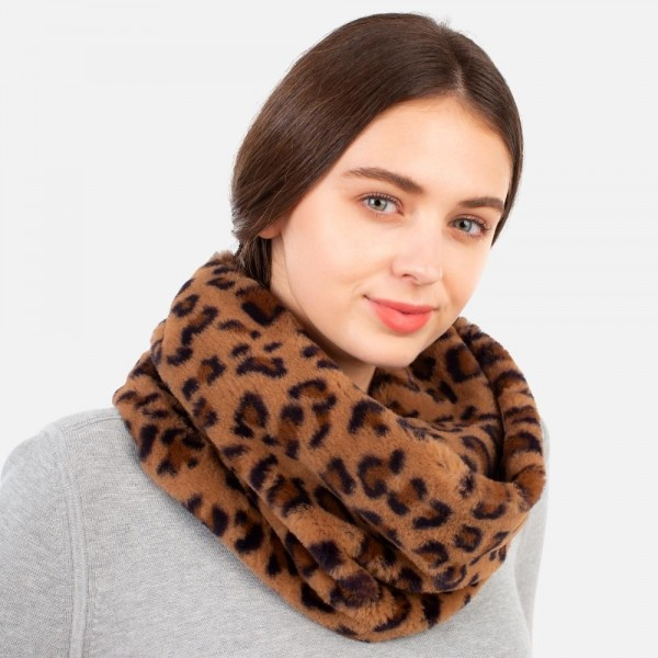 Anima Print Faux Fur Infinity Scarf   -One size fits most  -100% Polyester
