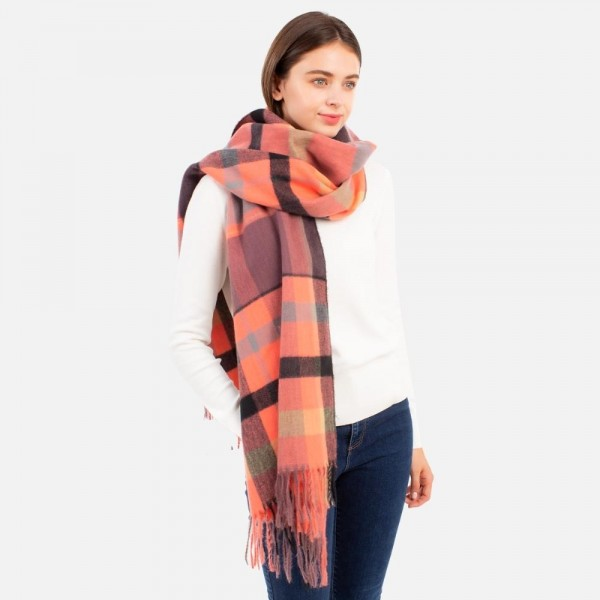 """Soft Knit Plaid Scarf with Fringe Tassels  - 50% Polyester / 50% Acrylic - Approximately 25"""" W x 82"""" L"""