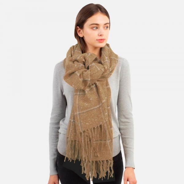 """Soft Knit Scarf with Metallic Shimmer Accents and Fringe Tassels  - 100% Polyester - Approximately 36"""" W x 84"""" L"""