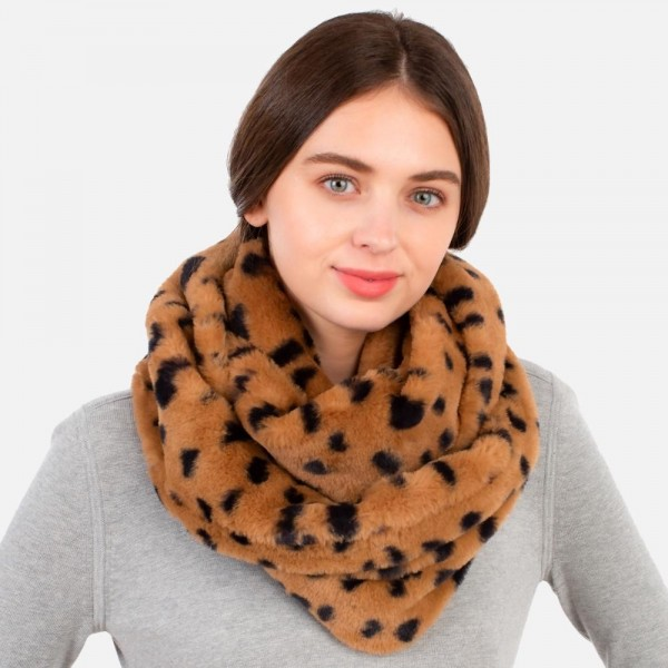Animal Print Faux Fur Infinity Scarf  - One Size Fits Most - 100% Polyester