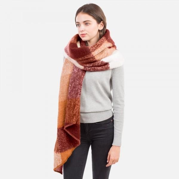 "Fuzzy Knit Scarf with Asymmetrical Hem  - 100% Polyester - Approximately 20"" W x 84"" L"