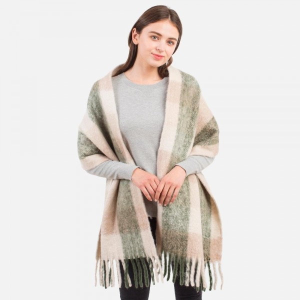 """Fuzzy Striped Knit Scarf with Fringe Tassel  - 100% Polyester - Approximately 16"""" W x 80"""" L"""