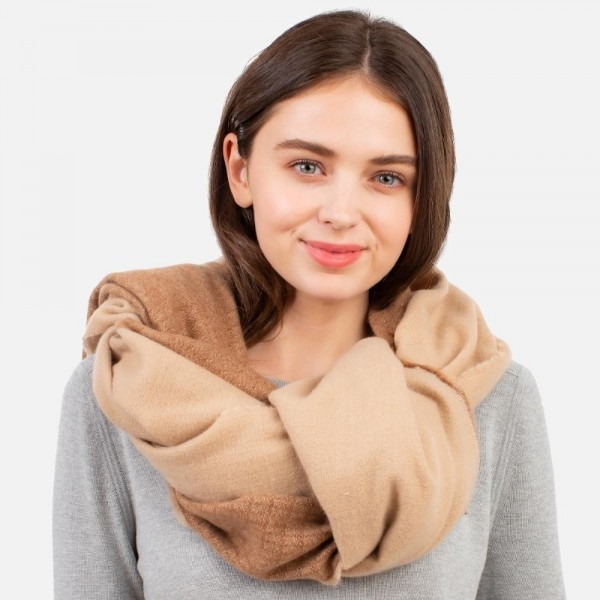 """Lightweight Two-Tone Knit Scarf with Fringe Tassel  - 100% Polyester - Approximately 28"""" W x 82"""" L"""