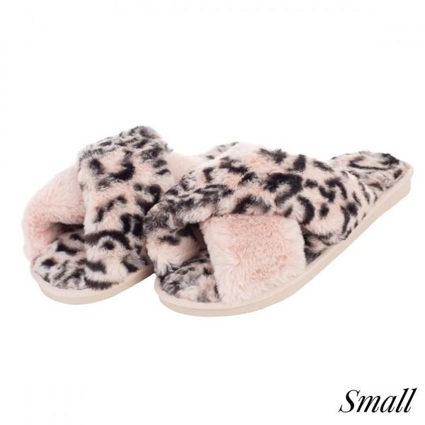 Faux fur leopard print criss cross slipper  -Women's US size 7-7.5 -Rubber sole