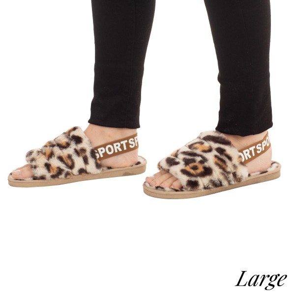 Faux fur leopard print slipper with elastic back strap  -Women's US size 8-8.5 -Rubber sole