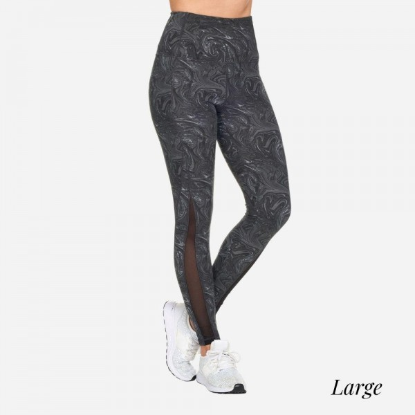 Candy Swirl Full-Length Leggings With Mesh & Pockets. (Size: Large)  - High Waist  - 2 Outside Pockets  - Made from soft 4-way moisture-wicking polyester  - Printed Swirl Detail  - High Quality Fabric  - Squat Test Approved!  - All-Purpose leggings are great for all exercises or everyday casual wear  - Material: 88% Polyester, 12% Spandex  - Size: Large