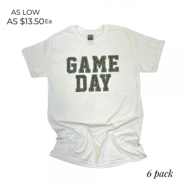 Game Day Graphic Tee. (6 Pack)  - Printed on a Gilldan Brand Tee  - Color: White - 6 Shirts Per Pack  - Sizes: 1:S 2:M 2:L 1:XL  - 50% Cotton, 50% Polyester