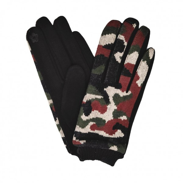 Do Everything In Love Camo Print Knit Smart Touch Gloves.  - Touchscreen Compatible - One size fits most - 50% Cotton / 50% Polyester