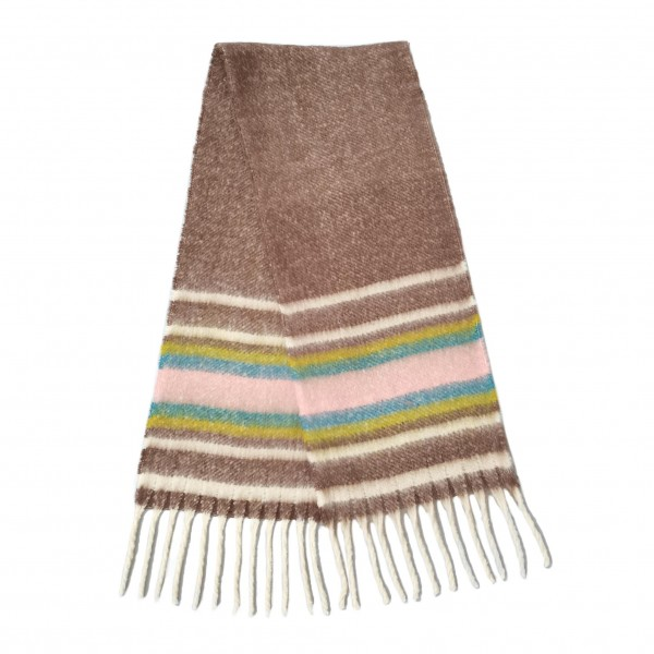 """Soft Striped Scarf with Fringe Tassels  - 100% Polyester - Approximately 88"""" L x 16"""" W"""