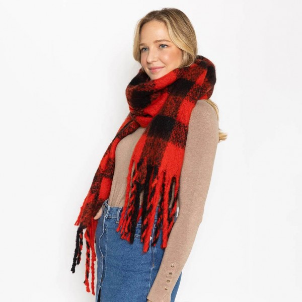 """Soft Buffalo Check Scarf with Fringe Tassel  - 100% Polyester - Approximately 88"""" L x 20"""" W"""