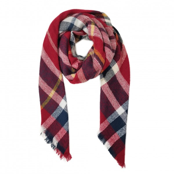 """Knit Plaid Blanket Scarf with Frayed Edges  - 100% Acrylic - Approximately 50"""" x 50"""""""