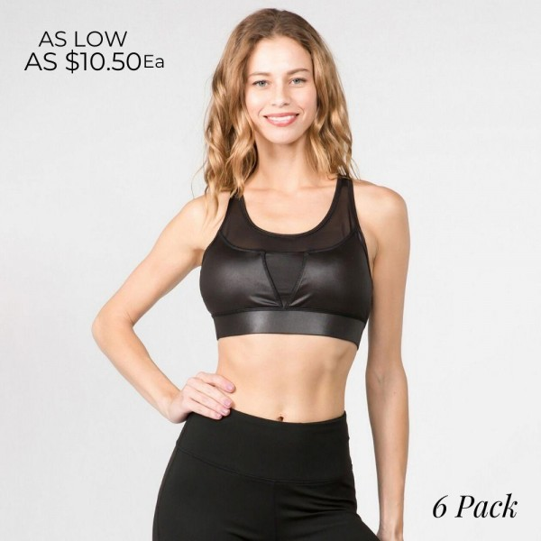 Sports Bra Featuring Stretchy Faux Leather With a Mesh Inset Detail.  • Cutout Detail on Back • Stretchy Faux Leather • Mesh Insert Bodice • Moisture Wicking Fabric    Pack Breakdown: 6pcs/pack 2S:2M:2L
