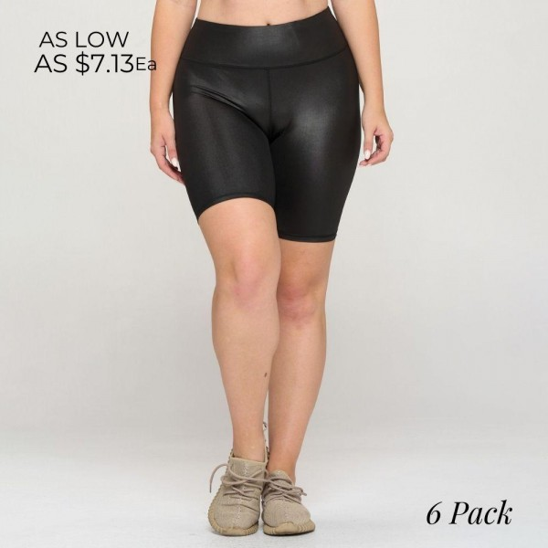Faux Leather Biker Shorts. (6 Pack)  • Faux Leather • Crop Knee Length Hem • Tummy Flattening Waistband • Comfortable Easy Pull-Up Style • Solid Color, Stretchy • Flat Lock Seams Prevent Chafing   Pack Breakdown: 6pcs/pack. 2S: 2M: 2L