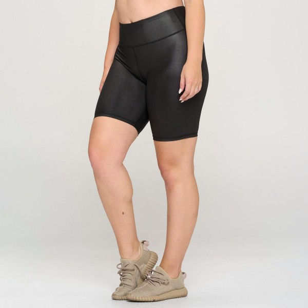 Plus Size Faux Leather Biker Shorts. ( XL 3 Pack)  • Faux Leather • Crop Knee Length Hem • Tummy Flattening Waistband • Comfortable Easy Pull-Up Style • Solid Color, Stretchy • Flat Lock Seams Prevent Chafing   Pack Breakdown: 3pcs/pack. 3 XL