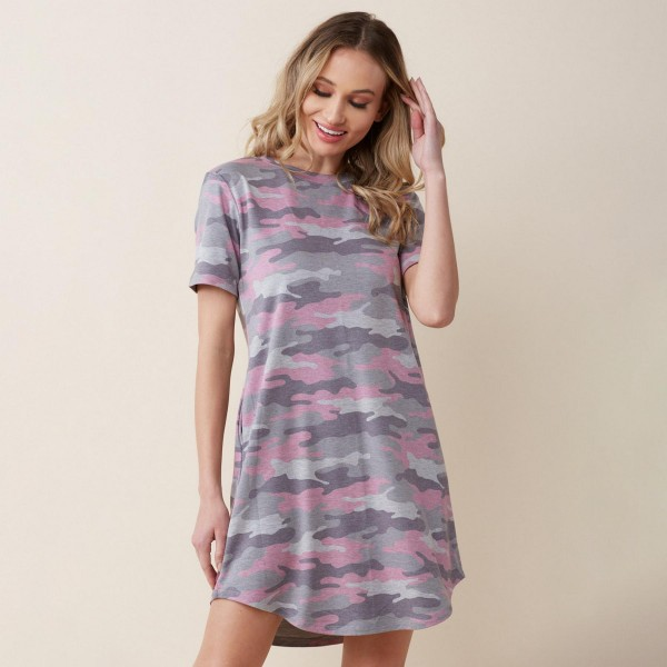 Loose Fitting Camouflage T Shirt Dress Featuring Short Sleeves and Two Pockets. (6 Pack)   • T Shirt Midi Dress • Casual Style • Camouflage Print • Stretchy and Soft Fabric • Rounded Neckline • Short Sleeves • Two Pockets on Each Hip   Pack Breakdown: 6pcs/pack 2S:2M:2L