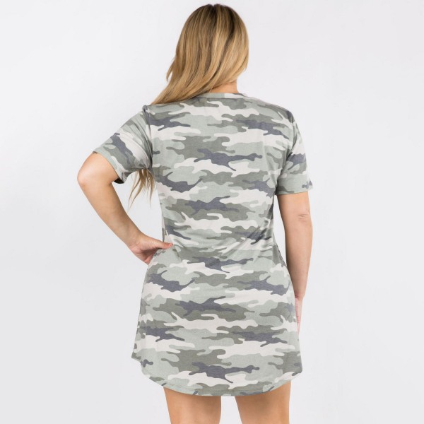 Plus Size Loose Fitting Camouflage T Shirt Dress Featuring Short Sleeves and Two Pockets. (6 Pack)   • T Shirt Midi Dress • Casual Style • Camouflage Print • Stretchy and Soft Fabric • Rounded Neckline • Short Sleeves • Two Pockets on Each Hip   Pack Breakdown: 6pcs/pack. 2XL:2XXL:2XXXL