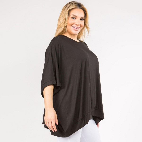 Plus Size Solid Color Short Sleeve Oversized Boxy Tunic Tee with Round Neckline. (6 Pack)  • Short sleeves, round neckline • Oversized silhouette • Soft and stretchy • Pullover styling   - Pack Breakdown: 6pck/pack - Sizes: 2-S / 2-M / 2-L - 95% Rayon / 5% Spandex