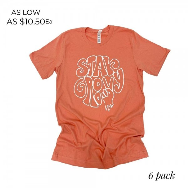 """""""Stay Groovy"""" Graphic Tee.  - Printed on a Bella Canvas Brand Tee - Color: Sunset - 6 Shirts Per Pack - Sizes: 1:S 2:M 2:L 1:XL - 52% Cotton / 48% Polyester"""