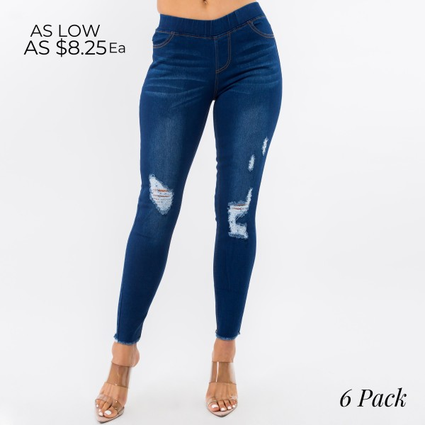 """Women's Classic Distressed Denim Jeggings. (6 Pack)  - 1.5"""" Elastic Waistband - 4 Functional Pockets - Pull-On Style - Distressed Detail - Soft & Stretchy Material  - Pack Breakdown: 6 Pair Per Pack - Sizes: 2-S / 2-M / 2-L - Inseam Approximately 28"""" in Length - 76% Cotton, 22% Polyester, 2% Spandex"""