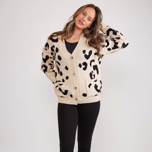 Animal print cardigan sweater with button closure -One size fits most -100% Acrylic