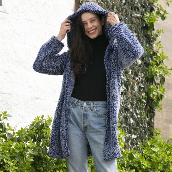 Super Soft Sherpa Hooded Sherpa Cardigan With Hook and Eye Closure  - One Size Fits Most 0-14 - 100% Polyester