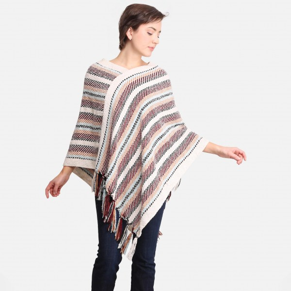 Comfy Luxe Soft Striped Poncho with Fringe Tassels  - 100% Acrylic - One Size Fits Most 0-14
