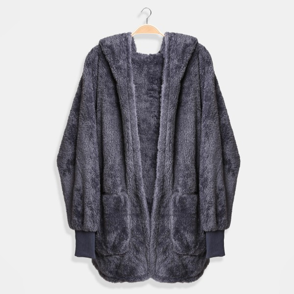 Comfy Luxe Soft Oversized Hooded Jacket With Pockets  - One Size Fits Most - 100% Polyester