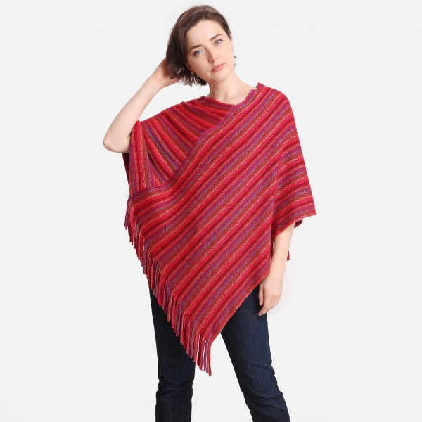 """ComfyLUXE Multi-Colored Striped Poncho  - Approximately 33"""" Long - 100% Polyester"""