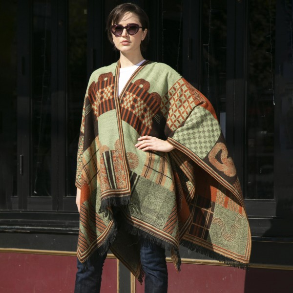 Women's Knit Kimono Featuring Multi Pattern Details  - 100% Acrylic - One Size Fits Most (Sizes 0-14)