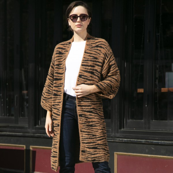 Comfy Luxe Tiger Print Cardigan  -One size fits most 0-14 -100% Polyester