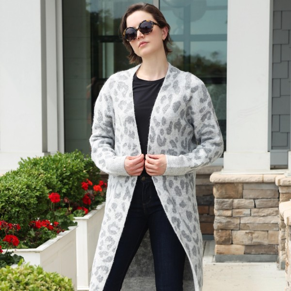 Comfy Luxe Animal Print Cardigan   - One size fits most 0-14 - 50% Acrylic/25% Polyester/20% Nylon/ 5% Elastane
