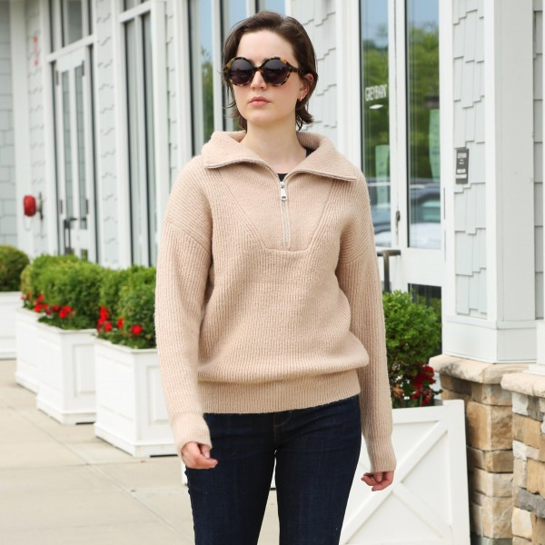Comfy Luxe Half Zip Pull Over   - Collar  - Half Zipper Closure  - One Size Fits Most 0-14  - 50% Acrylic, 25% Polyester, 20% Nylon, 5% Elastane