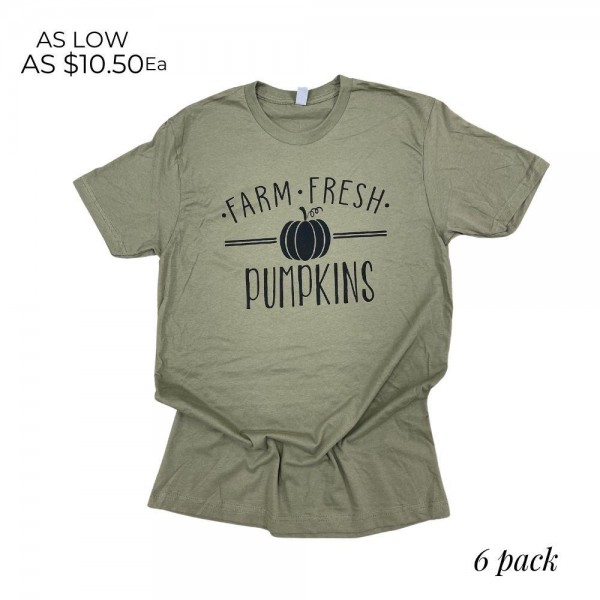 """""""Farm Fresh Pumpkins"""" Graphic Tee. (6 Pack)  - Printed on a Next Level Brand Tee - Pack Breakdown: 6pcs/pack  - Sizes: 1-S / 2-M / 2-L / 1-XL  - 60% Cotton, 40% Polyester"""