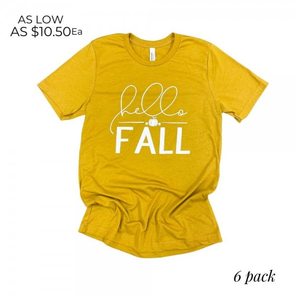 """""""Hello Fall"""" Graphic Tee. (6 Pack)  - Printed on a Bella Canvas Brand Tee - Pack Breakdown: 6pcs/pack  - Sizes: 1-S / 2-M / 2-L / 1-XL  - 52% Cotton, 48% Polyester"""