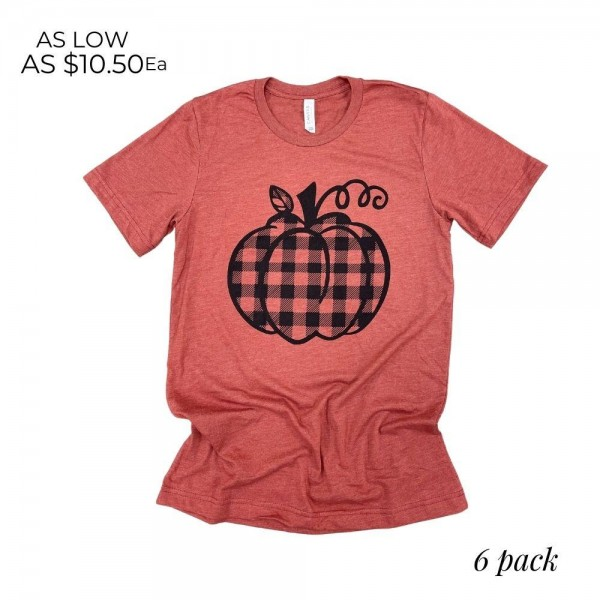 Plaid Pumpkin Graphic Tee. (6 Pack)  - Printed on a Bella Canvas Brand Tee - Pack Breakdown: 6pcs/pack - Sizes: 1-S / 2-M / 2-L / 1-XL - 52% Cotton, 48% Polyester