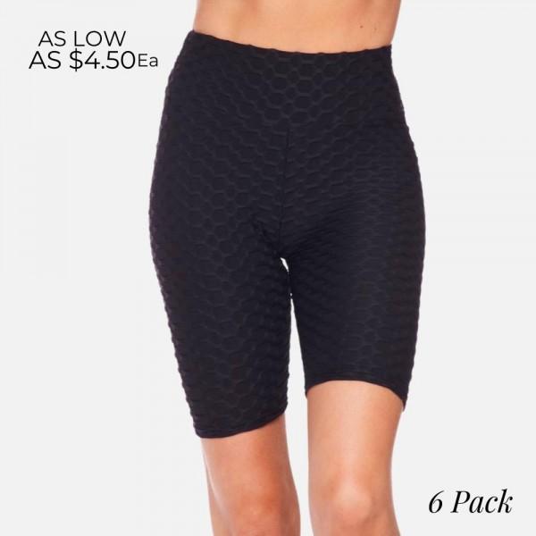 "Honey-Comb ""TikTok"" Brazilian Butt Lifting Biker Shorts. (6 Pack)  - 92%Polyester, 8%Spandex - 6 Sets Per Pack - Featuring Elastic Waistband - Sizes: 3-S/M, 3-L/XL"