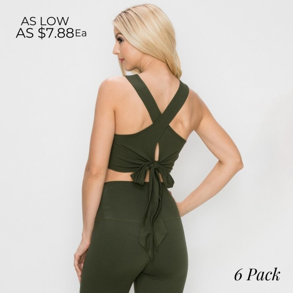 """Crop Top Featuring an adjustable X Tie Back.    • Crop Top • U- Neck • Solid color • Stretchy and soft • Tie back for customizable fit • 95% Polyester 5% Spandex   Model Stats: 32 x 24 x 36 Height 5'8""""   Pack Breakdown: 6pcs/pack 2S:2M:2L"""
