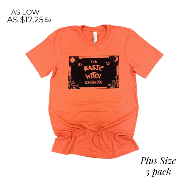 Plus Size Basic Witch Graphic Tee.  - Printed on a Bella Canvas Brand Tee - Color: Orange - 3 Shirts Per Pack - Sizes: 3:2XL - 52% Cotton / 48% Polyester