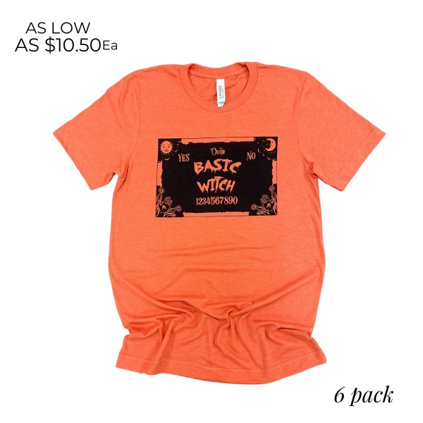 Basic Witch Graphic Tee.  - Printed on a Bella Canvas Brand Tee - Color: Orange - 6 Shirts Per Pack - Sizes: 1:S 2:M 2:L 1:XL - 52% Cotton / 48% Polyester