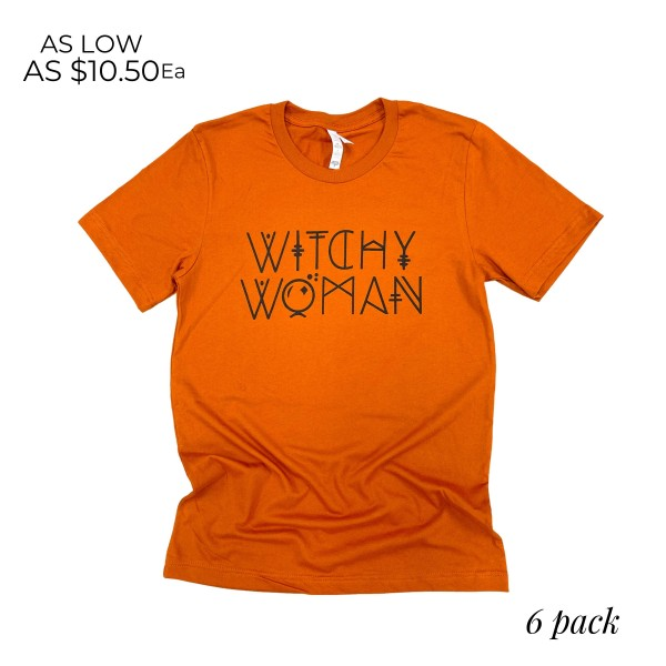 Witchy Woman Graphic Tee.  - Printed on a Bella Canvas Brand Tee - Color: Autumn - 6 Shirts Per Pack - Sizes: 1:S 2:M 2:L 1:XL - 100% Cotton