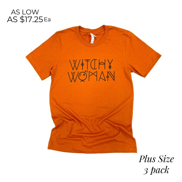 Wholesale plus Witchy Woman Graphic Tee Printed Bella Canvas Brand Tee Color Aut